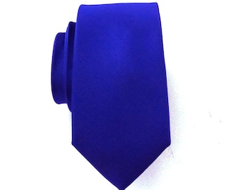 Mens Ties Wedding Necktie Royal Blue Ultramarine Blue Skinny Silk Tie With Matching Pocket Square Option