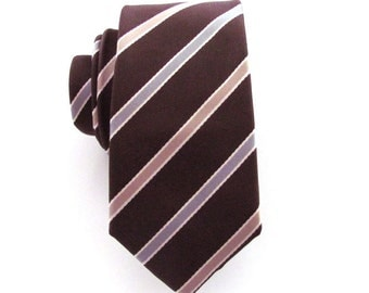 Mens Necktie Brown Striped Skinny Silk Mens Tie