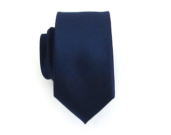 Mens Tie. Dark Navy Blue Skinny Silk Tie with Matching Pocket Square Option
