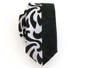 Necktie Black and White Skinny Silk Tie
