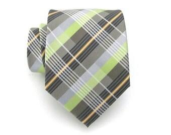Mens Tie - Green and Gray Plaid Silk Necktie