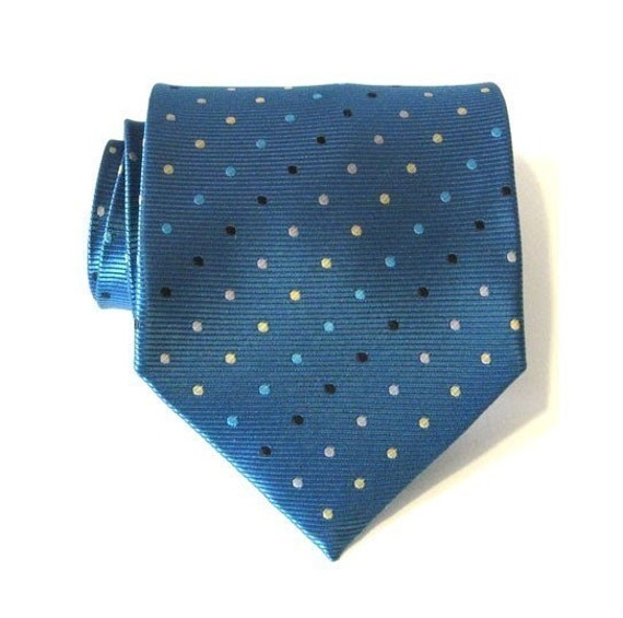 Necktie Mens Tie - Teal Dot Silk Tie