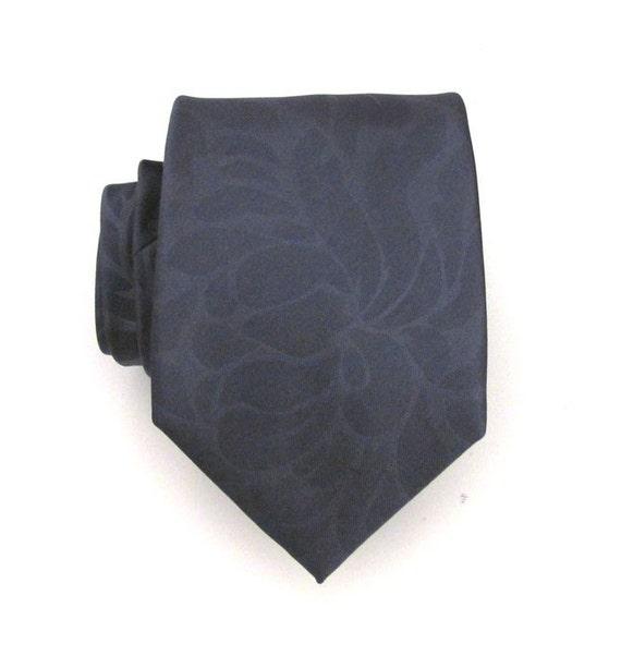 Necktie for Men Blue Gray Flower Silk Tie