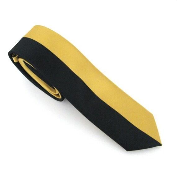 Necktie for Men, Gold and Midnight Blue Skinny Silk Tie