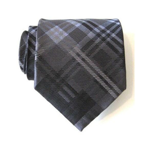 Dark Gray Plaid Silk Tie