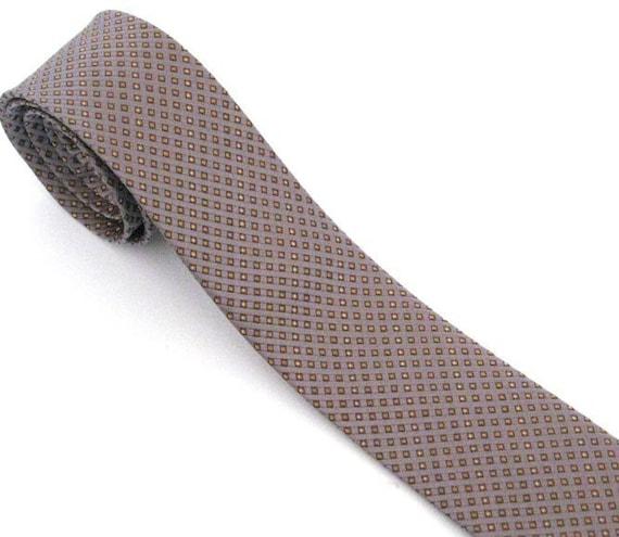 Mens Necktie Gray and Gold Skinny Silk Tie