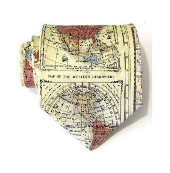 Mens Necktie Cream World Map Silk Tie