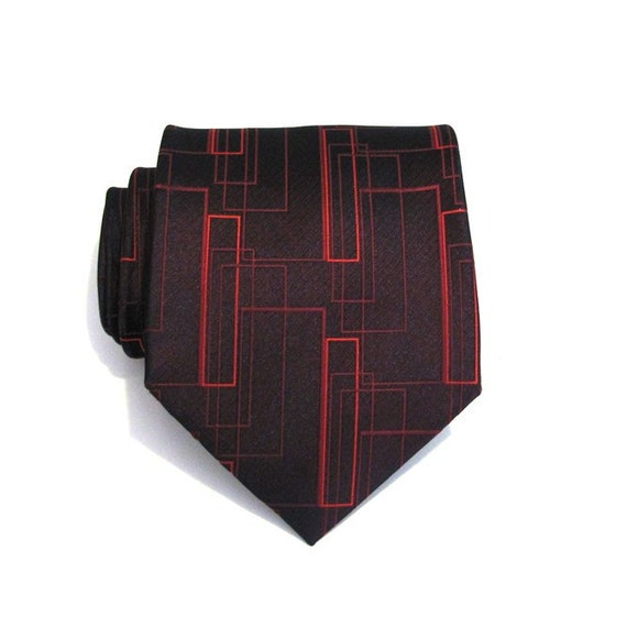 Men's Ties. Necktie. Cherry Black Rectangle Mens Silk Tie
