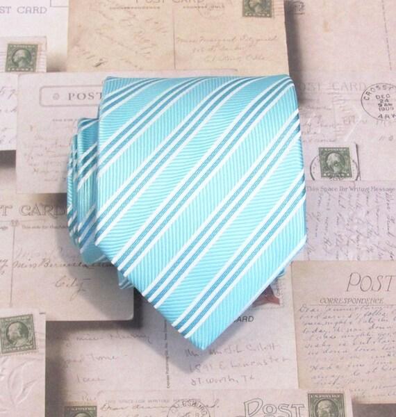 Mens Necktie Blue Striped Silk Tie