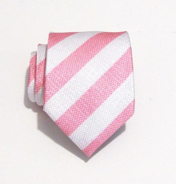 Necktie Pink and White Stripe Silk Mens Necktie