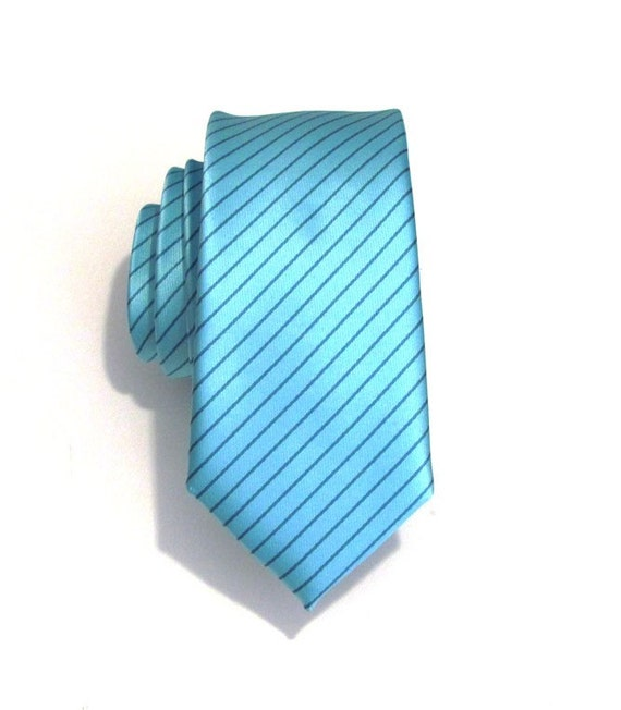 Mens Necktie Blue Striped Silk Skinny Tie