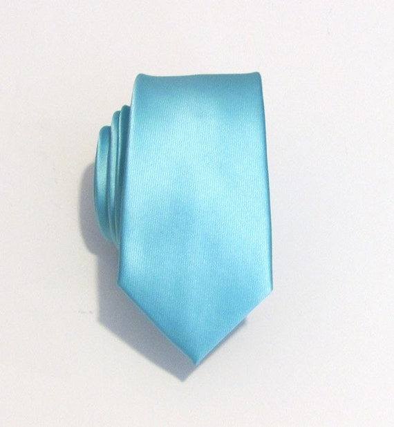 Mens Tie. Pool Blue Robin Blue Eggs Blue Skinny Silk Necktie With Matching Pocket Square Option Inspired by Alfred Angelo's Blue Box