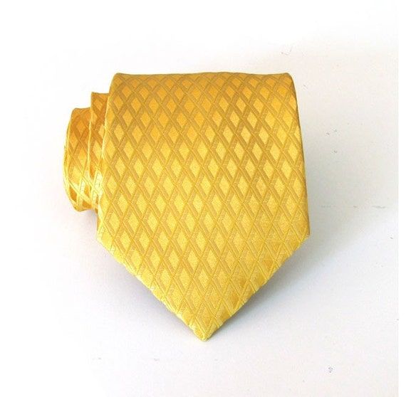 Mens Necktie Goldy Yellow Silk Tie