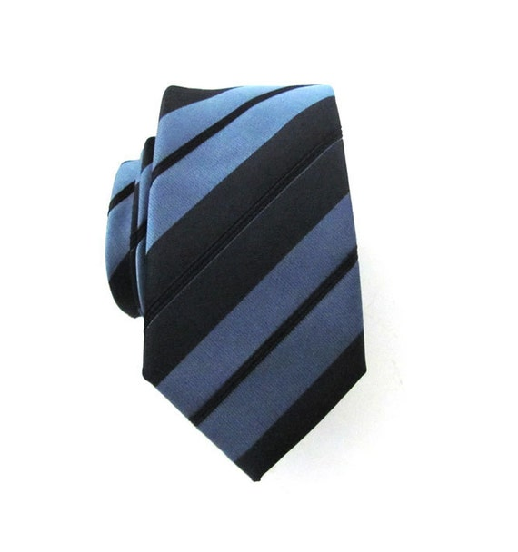 Mens Necktie Blue and Black Striped Skinny Silk Tie