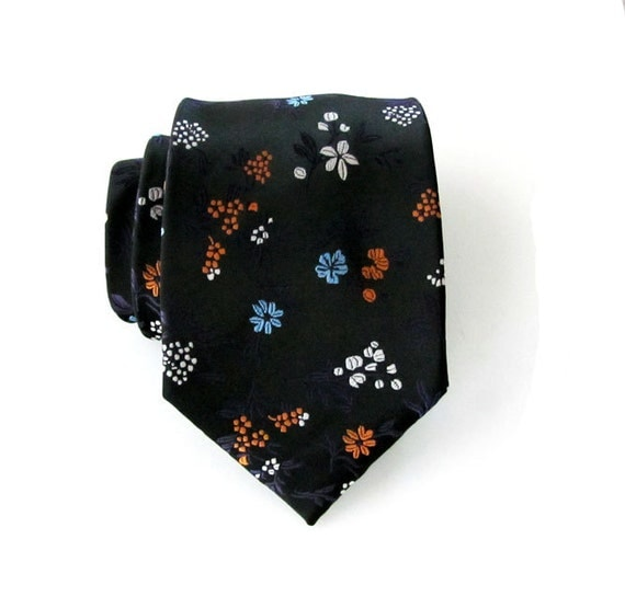 Mens Tie. Necktie Black Orange Flower Silk Men's Tie