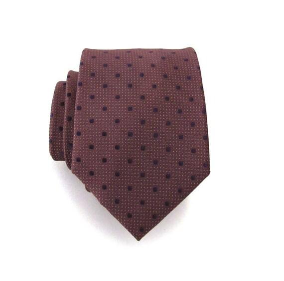Necktie Brown and Blue Dot Silk Tie