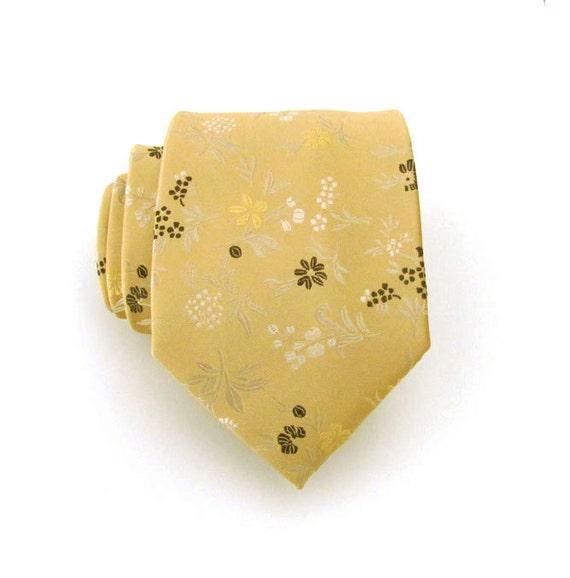 Tie Gold Flower Silk Necktie