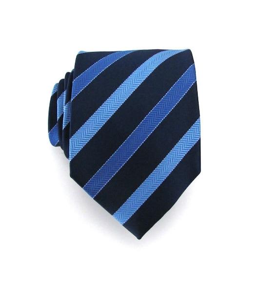 Mens Tie - Blue Striped Silk Necktie