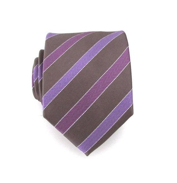 mens tie brown purple and lavender striped silk by tieobsessed