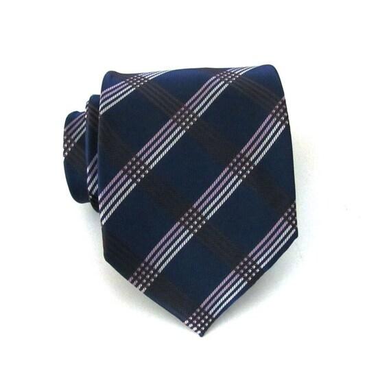 Mens Tie - Navy Blue Plaid Silk Necktie