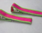 Pink and Green Alligator Clips