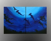 Underwater series-Hammerhead Sharks of the Deep ORIGINAL ACRYLIC