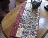 Paisley Patchwork Burgundy Red Green Small Table Runner / Table Topper