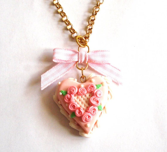 Valentine's Day Cake Necklace Pink Rose Heart Cake Necklace - Miniature Food Jewelry