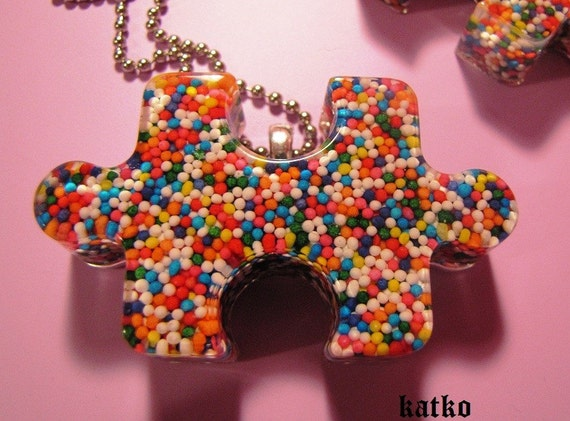 Candy Spinkles Puzzle Piece Resin Necklace