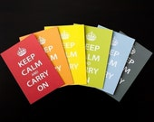 Set of 8 Flat Keep Calm and Carry On Note Cards, Free Shipping to US