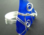 Seaglass ring - swirly wire wrapped - cobalt blue genuine sea glass (size 7.5)