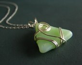 Jadeite Sea Glass Necklace - wire wrapped - pale green authentic sea glass pendant