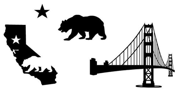 State Of California And Golden Gate Bridge Vinyl By