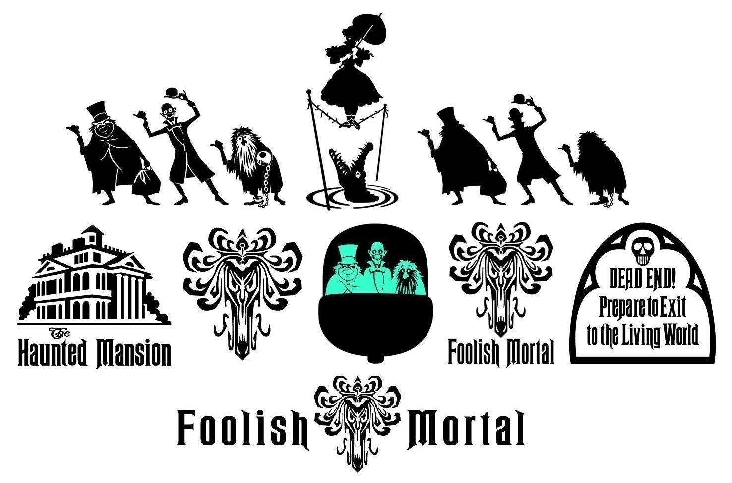 The Haunted Mansion Vinyl Decals Hitchhiking Ghosts Plus