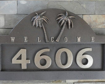 Tropical Palms Cast ADDRESS PLAQUE House Numbers