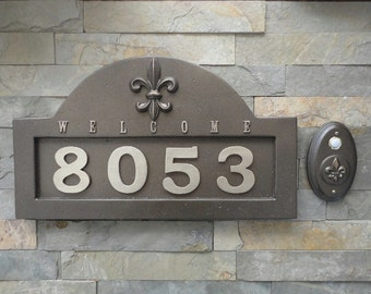 French Fleur De Lis ADDRESS Plaque  House Numbers & Matching Doorbell