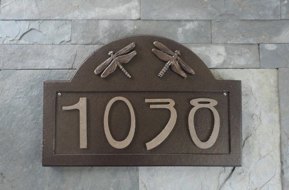 Craftsman Dragonfly Bungalow Address Plaque