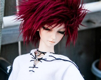 Akasarushi WINE Color Fur Wig Made for abjd doll size SD MSD tiny yosd and puki