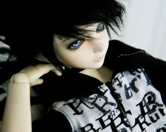 Akasarushi BLACK Color Fur Wig Made for abjd doll size SD MSD tiny yosd and puki