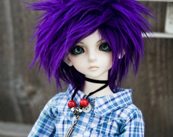 Akasarushi PURPLE Color Fur Wig Made for abjd doll size SD MSD tiny yosd and puki