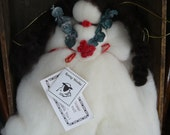 primitive Angel beautiful ROVING angel  has spring for attaching to tree tops or wooden spools