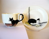 Handpainted breakfast mug and plate - Amsterdam Cats -made to order
