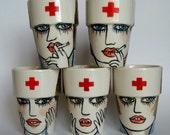 Nurse - Handpainted earthenware mug  - made to order