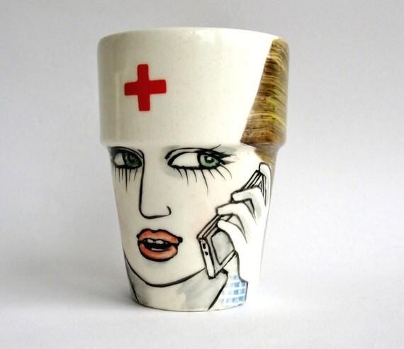 Nurse with cellphone - Handpainted mug