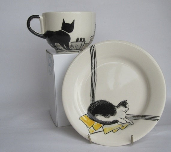 Handpainted breakfast mug and plate - Amsterdam Cats - Ready to ship