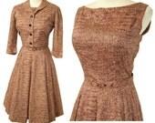 Vintage 50s Dress Atomic Brown Rockabilly Bolero Jacket S / M