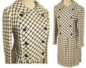 Vintage 60s Suit Mod Wool Windowpane Plaid Ladies Jacket & Skirt S - Miss Bergdorf