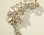 Vintage 30s Brooch Art Deco Moonglow Lucite Rhinestone Pot Metal Floral Pin