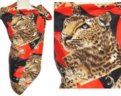Vintage 80s Leopard Cheetah Scarf Red & Black Disco Shawl