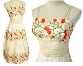 Vintage 60s Dress Party Cocktail Ivory & Orange Tangerine Floral Cherry Blossoms S